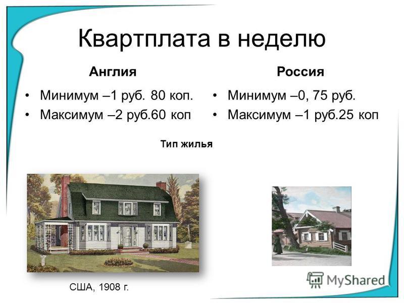 Квартплата в неделю Англия Минимум –1 руб. 80 коп. Максимум –2 руб.60 коп Россия Минимум –0, 75 руб. Максимум –1 руб.25 коп Тип жилья США, 1908 г.