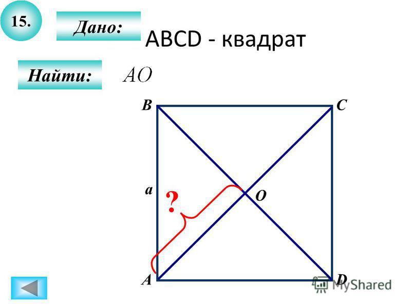 15. Найти: Дано: А BC D a O ? ABCD - квадрат