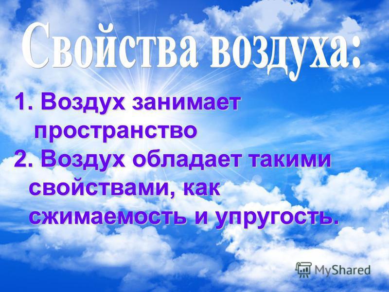 1. Воздух занимает пространство пространство 2. Воздух обладает такими свойствами, как сжимаемость и упругость.