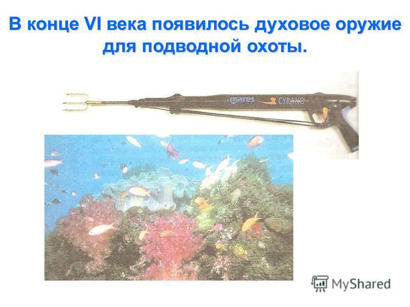 В конце VI века появилось духовое оружие для подводной охоты.