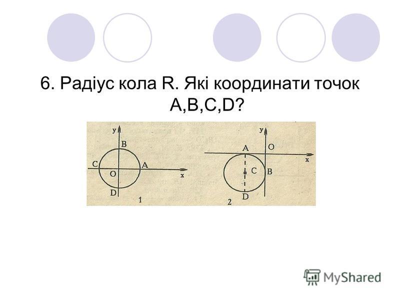 6. Радіус кола R. Які координати точок А,В,С,D?