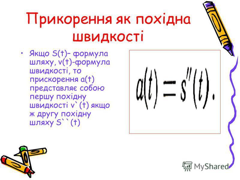Прикорення як похідна швидкості Якщо S(t)– формула шляху, v(t)-формула швидкості, то прискорення a(t) представляє собою першу похідну швидкості v`(t) якщо ж другу похідну шляху S``(t)