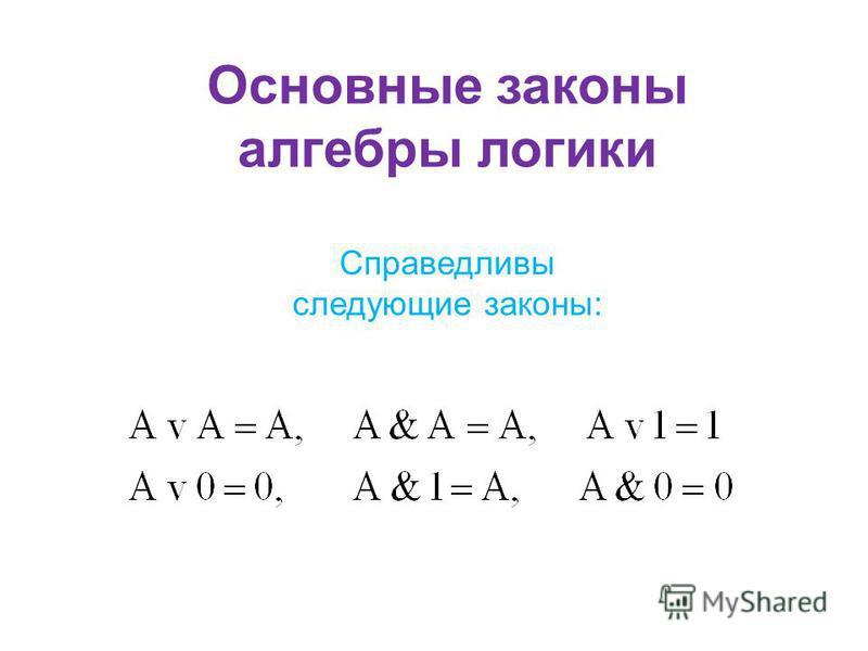 Основные законы алгебры логики Справедливы следующие законы: