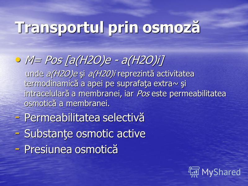 Transportul prin osmoză M= Pos [a(H2O)e - a(H2O)i] M= Pos [a(H2O)e - a(H2O)i] unde a(H2O)e şi a(H20)i reprezintă activitatea termodinamică a apei pe suprafaţa extra~ şi intracelulară a membranei, iar Pos este permeabilitatea osmotică a membranei. und