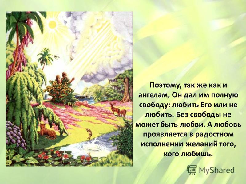 Поэтому, так же как и ангелам, Он дал им полную свободу: любить Его или не любить. Без свободы не может быть любви. А любовь проявляется в радостном исполнении желаний того, кого любишь.