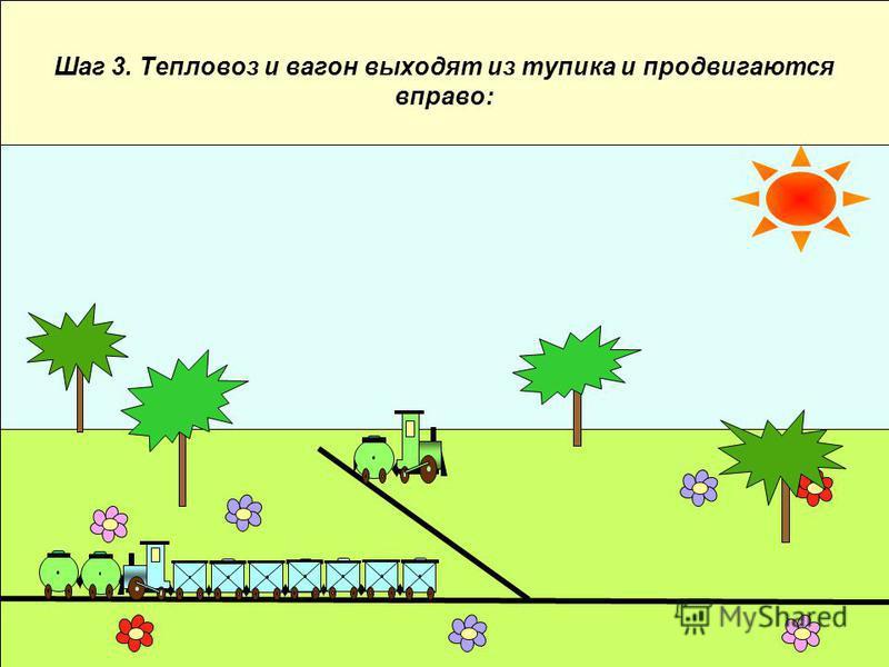 Шаг 3. Тепловоз и вагон выходят из тупика и продвигаются вправо: