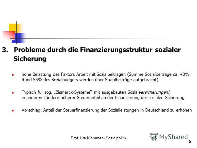 Prof. Ute Klammer - Sozialpolitik 6 3. Probleme durch die Finanzierungsstruktur sozialer Sicherung hohe Belastung des Faktors Arbeit mit Sozialbeiträgen (Summe Sozialbeiträge ca. 40%! Rund 55% des Sozialbudgets werden über Sozialbeiträge aufgebracht)