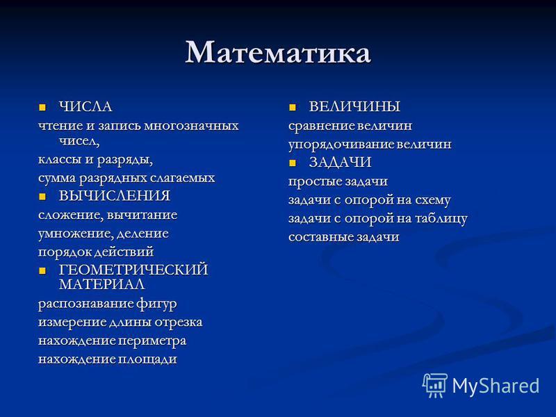 Математика ЧИСЛА ЧИСЛА чтение и запись многозначных чисел, классы и разряды, сумма разрядных слагаемых ВЫЧИСЛЕНИЯ ВЫЧИСЛЕНИЯ сложение, вычитание умножение, деление порядок действий ГЕОМЕТРИЧЕСКИЙ МАТЕРИАЛ ГЕОМЕТРИЧЕСКИЙ МАТЕРИАЛ распознавание фигур и
