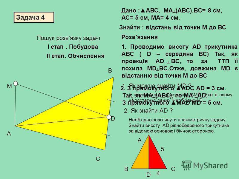 Задача 4 М А В С D Дано :АВС, МА (АВС).ВC= 8 см, АС= 5 см, МA= 4 см. Знайти : відстань від точки М до ВС 1. Проводимо висоту АD трикутника АВС ( D – середина ВС) Так, як проекція АD BC, то за ТТП її похила МD BC.Отже, довжина МD є відстанню від точки