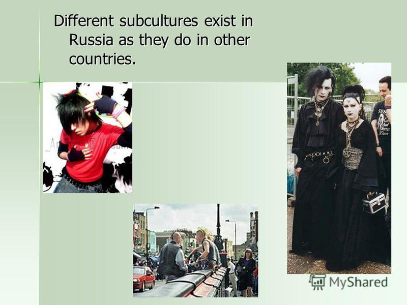 Different subcultures exist in Russia as they do in other countries.