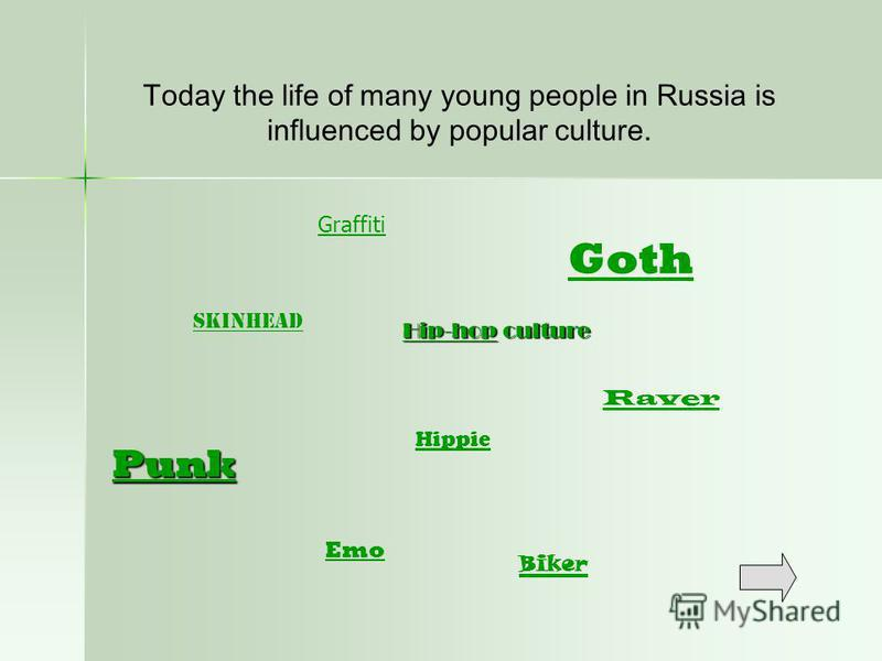 Punk Skinhead Goth Biker Today the life of many young people in Russia is influenced by popular culture. Graffiti Raver Hip-hopHip-hop culture Hip-hop Hippie Emo