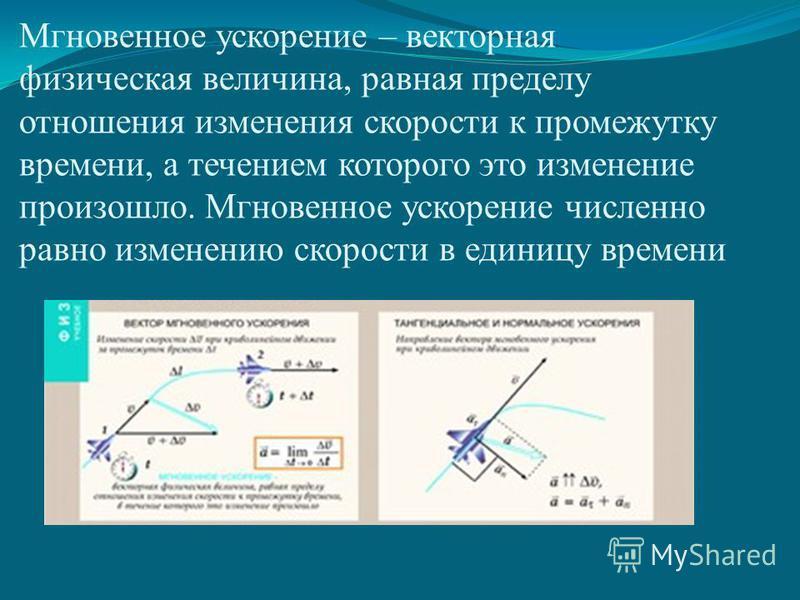 Мгновенное ускорение – векторная физическая величина, равная пределу отношения изменения скорости к промежутку времени, а течением которого это изменение произошло. Мгновенное ускорение численно равно изменению скорости в единицу времени