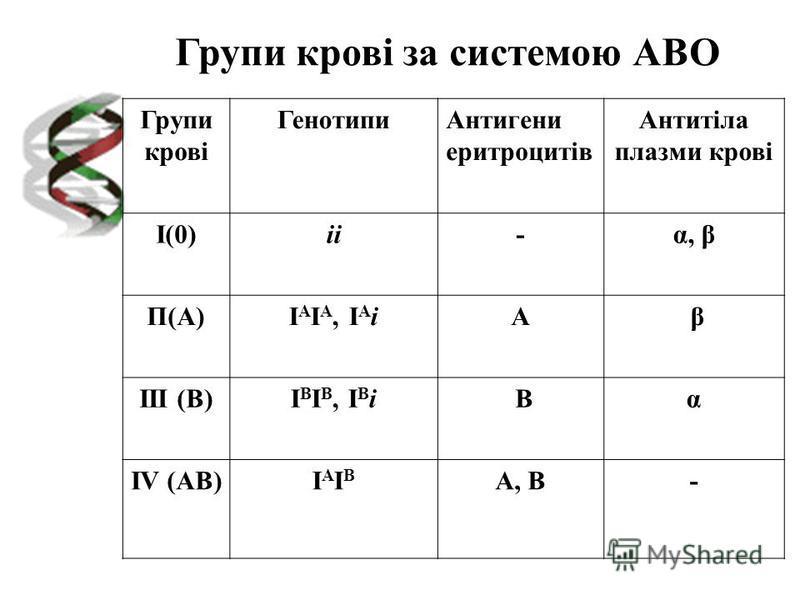 Групи крові ГенотипиАнтигени еритроцитів Антитіла плазми крові І(0)іі-α, β П(А)І А І А, І А іА β III (В)І В І В, І В і Вα IV (АВ)ІАІВІАІВ А, В- Групи крові за системою АВО