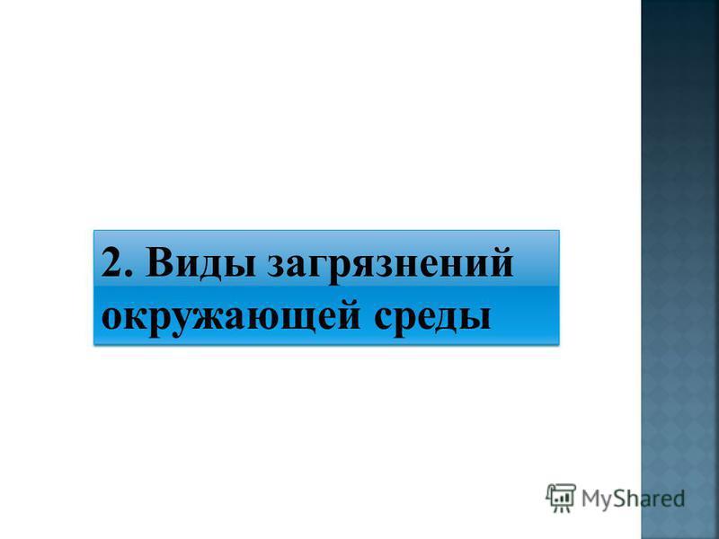 2. Виды загрязнений окружающей среды 2. Виды загрязнений окружающей среды