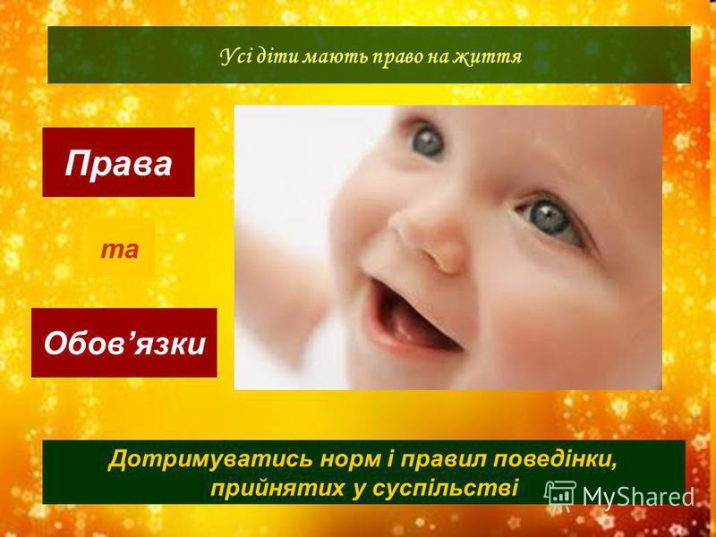 Права Обовязки Усі діти мають право на життя та Дотримуватись норм і правил поведінки, прийнятих у суспільстві