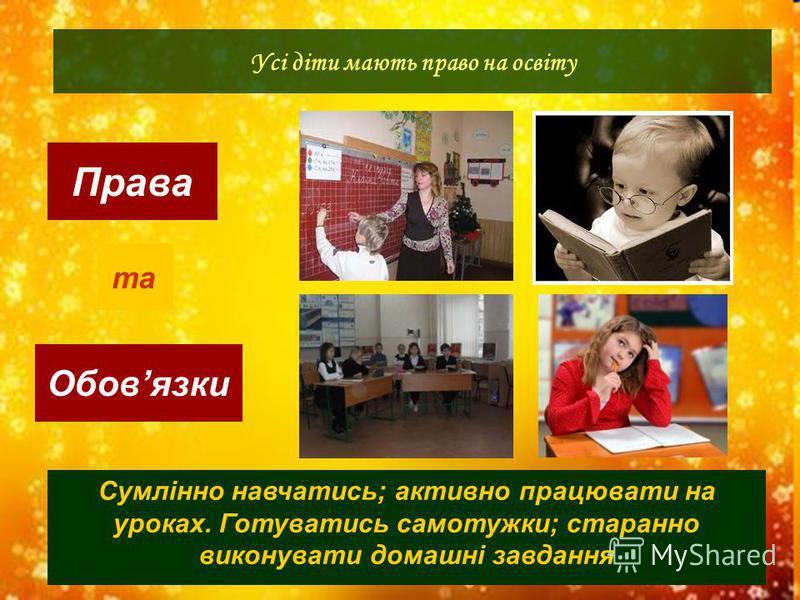 Права Обовязки Усі діти мають право на освіту та Сумлінно навчатись; активно працювати на уроках. Готуватись самотужки; старанно виконувати домашні завдання