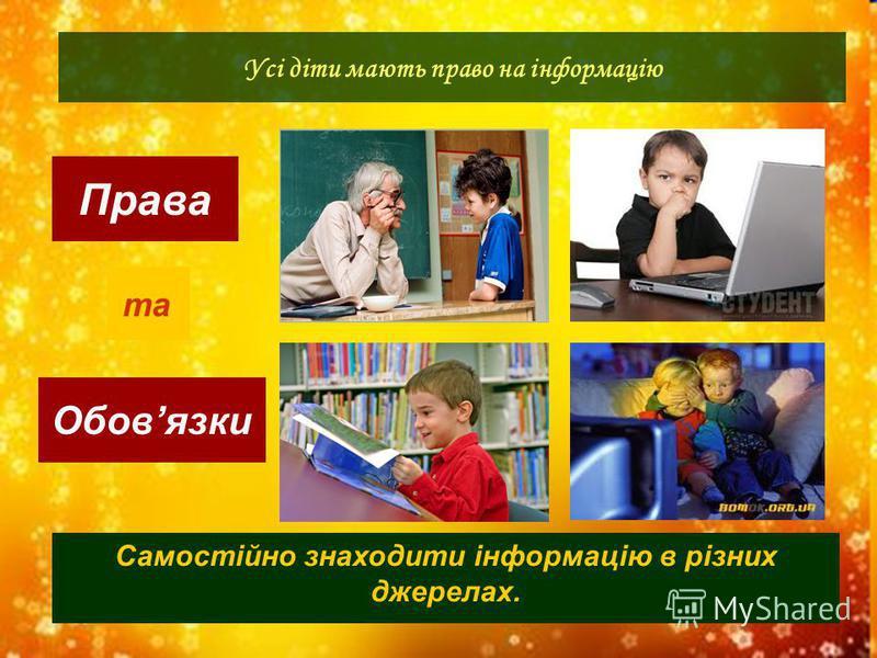 Права Обовязки Усі діти мають право на інформацію та Самостійно знаходити інформацію в різних джерелах.