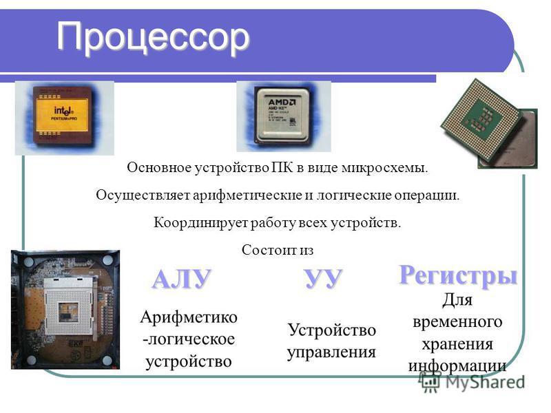 Процессор Основное устройство ПК в виде микросхемы. Осуществляет арифметические и логические операции. Координирует работу всех устройств. Состоит из АЛУ Регистры УУ Арифметико -логическое устройство Устройство управления Для временного хранения инфо