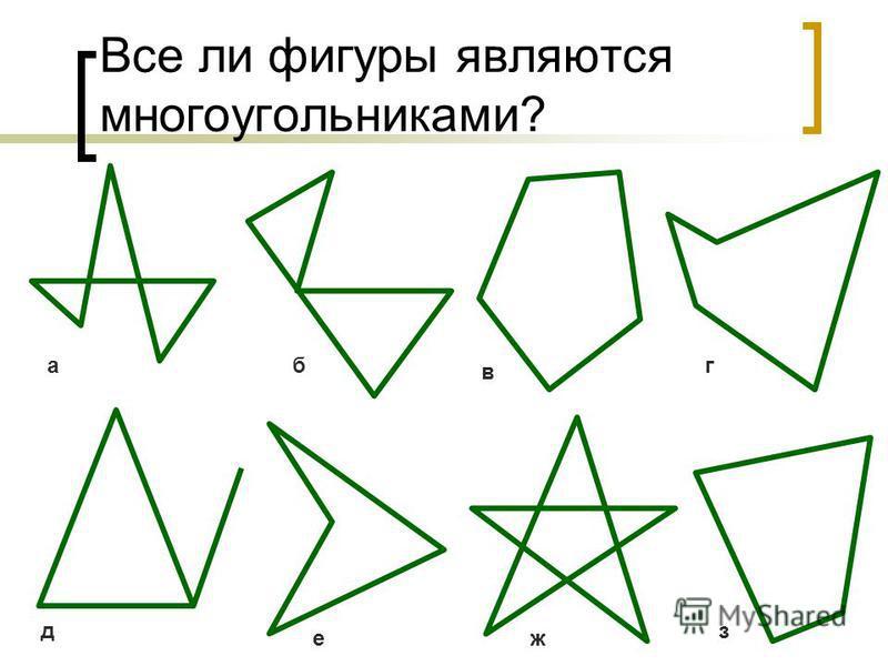 Все ли фигуры являются многоугольниками? акб в д еж з