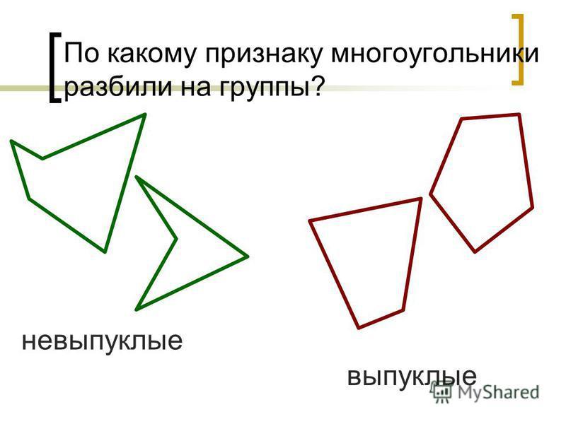 По какому признаку многоугольники разбили на группы? невыпуклые выпуклые