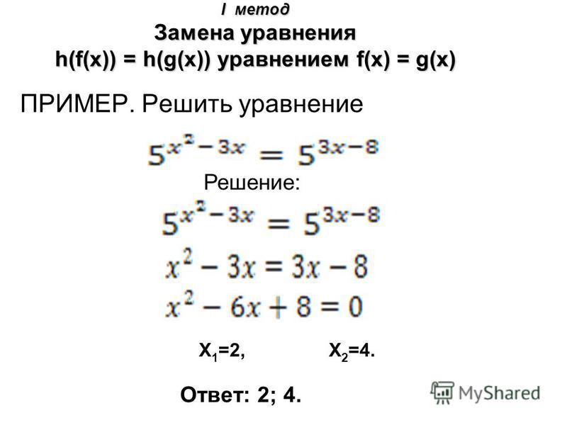 I метод Замена уравнения h(f(x)) = h(g(x)) уравнением f(x) = g(x) ПРИМЕР. Решить уравнение Решение: Ответ: 2; 4. X 1 =2, X 2 =4.