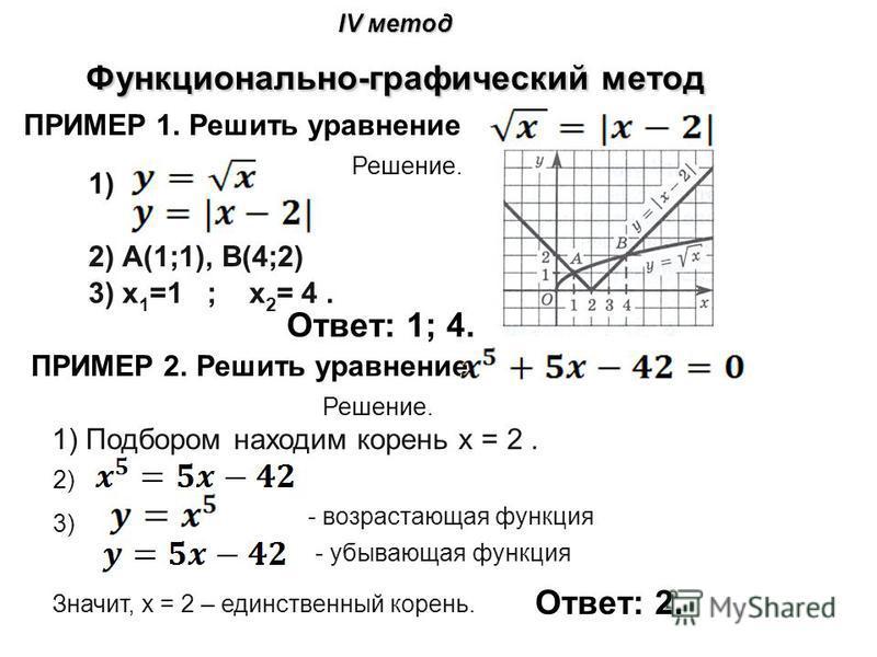 IV метод Функционально-графический метод ПРИМЕР 1. Решить уравнение Решение. 2) А(1;1), В(4;2) 1)1) 3) х 1 =1 ; х 2 = 4. Ответ: 1; 4. ПРИМЕР 2. Решить уравнение Решение. 1) Подбором находим корень х = 2. 2) 3) - возрастающая функция - убывающая функц