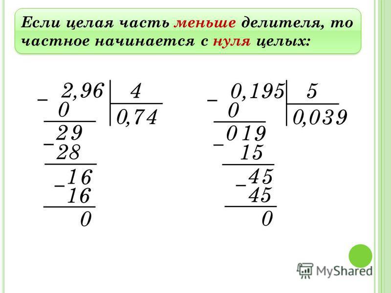 Если целая часть меньше делителя, то частное начинается с нуля целых: 2,96 4, 0 0 2 7 28 1 4 16 0 9 6 0,195 5, 0 0 0 0 15 4 3 45 0 1 5 9 9
