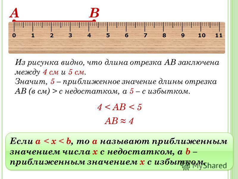 Если a < х < b, то а называют приближенным значением числа х с недостатком, a b – приближенным значением х с избытком. А В Из рисунка видно, что длина отрезка АВ заключена между 4 см и 5 см. Значит, 5 – приближенное значение длины отрезка АВ (в см) >