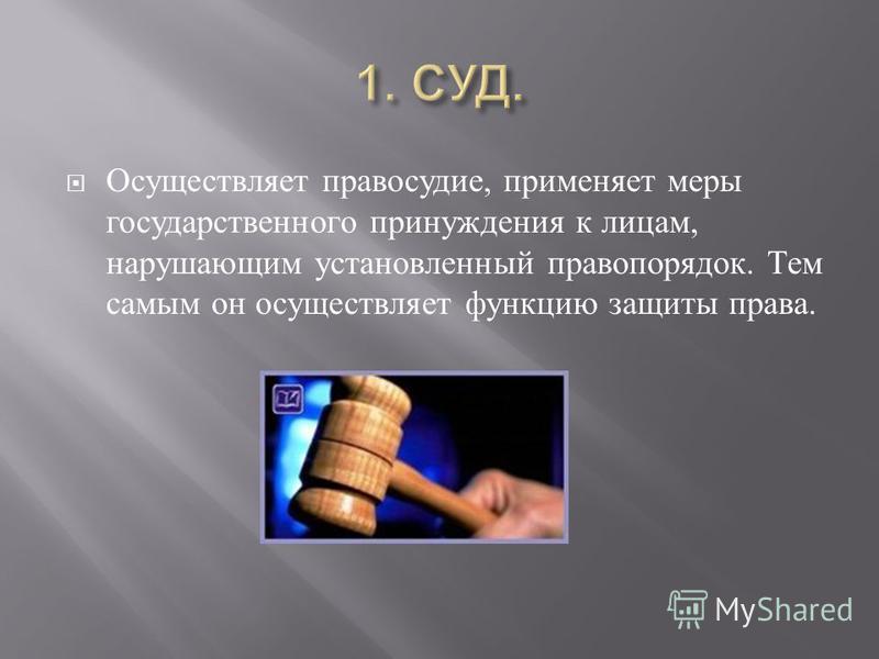 Осуществляет правосудие, применяет меры государственного принуждения к лицам, нарушающим установленный правопорядок. Тем самым он осуществляет функцию защиты права.