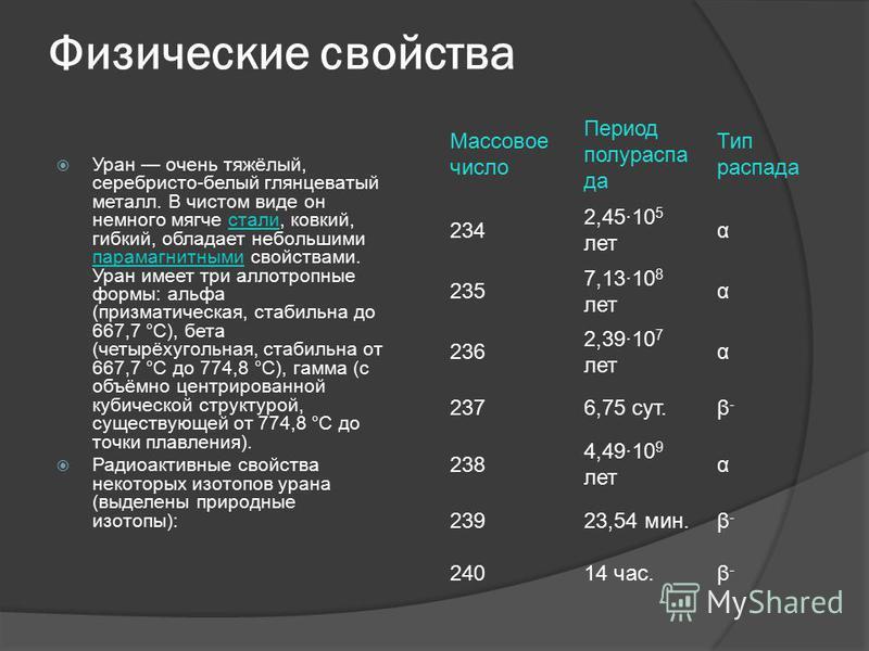 Физические свойства Уран очень тяжёлый, серебристо-белый глянцеватый металл. В чистом виде он немного мягче стали, ковкий, гибкий, обладает небольшими парамагнитными свойствами. Уран имеет три аллотропные формы: альфа (призматическая, стабильна до 66