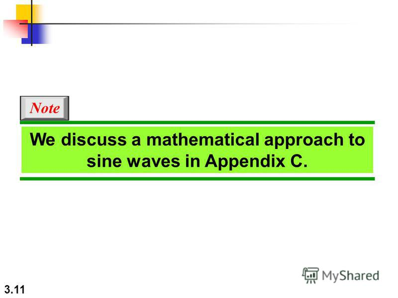 3.11 We discuss a mathematical approach to sine waves in Appendix C. Note