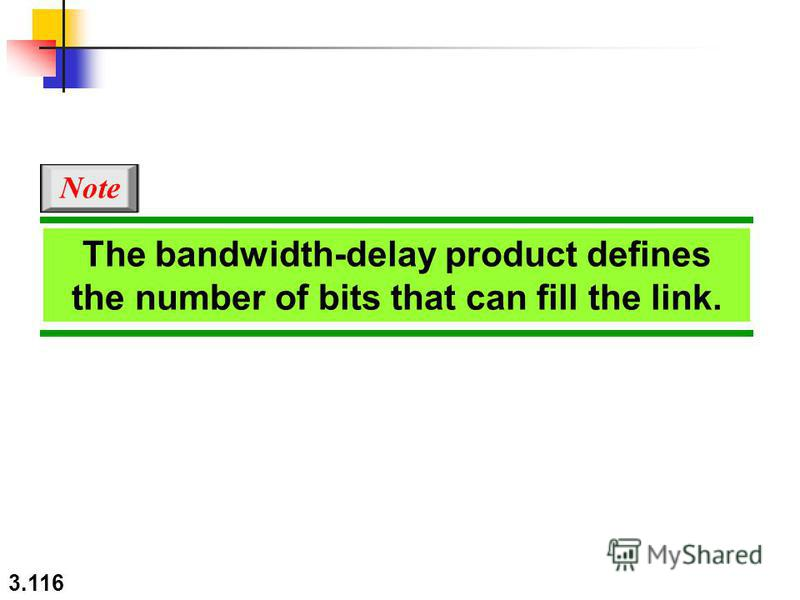 3.116 The bandwidth-delay product defines the number of bits that can fill the link. Note