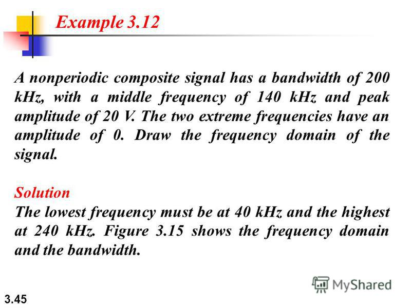 3.45 A nonperiodic composite signal has a bandwidth of 200 kHz, with a middle frequency of 140 kHz and peak amplitude of 20 V. The two extreme frequencies have an amplitude of 0. Draw the frequency domain of the signal. Solution The lowest frequency