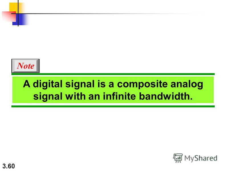 3.60 A digital signal is a composite analog signal with an infinite bandwidth. Note