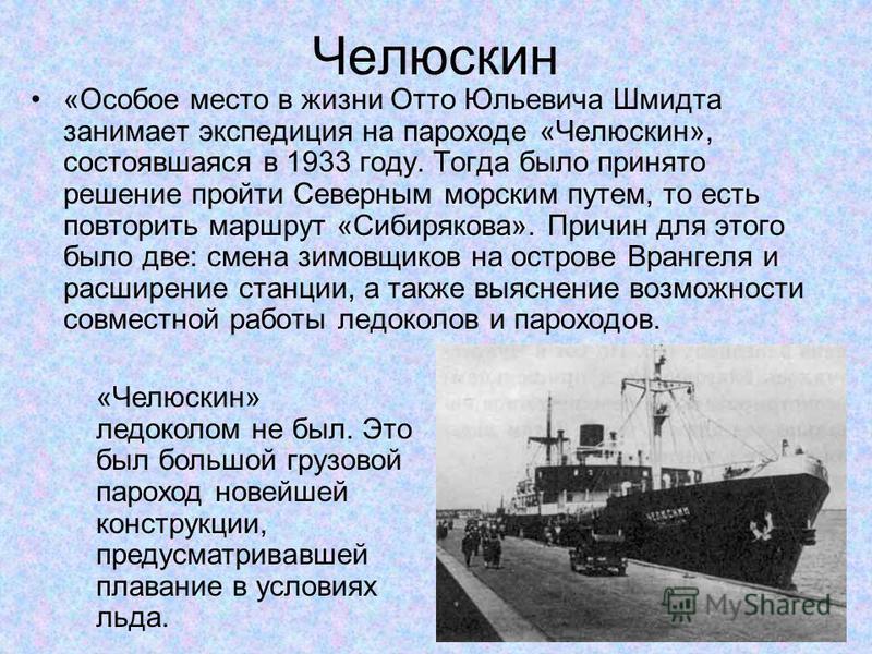 Челюскин «Особое место в жизни Отто Юльевича Шмидта занимает экспедиция на пароходе «Челюскин», состоявшаяся в 1933 году. Тогда было принято решение пройти Северным морским путем, то есть повторить маршрут «Сибирякова». Причин для этого было две: сме