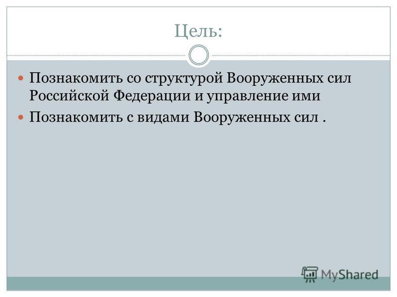 Цель: Познакомить со структурой Вооруженных сил Российской Федерации и управление ими Познакомить с видами Вооруженных сил.