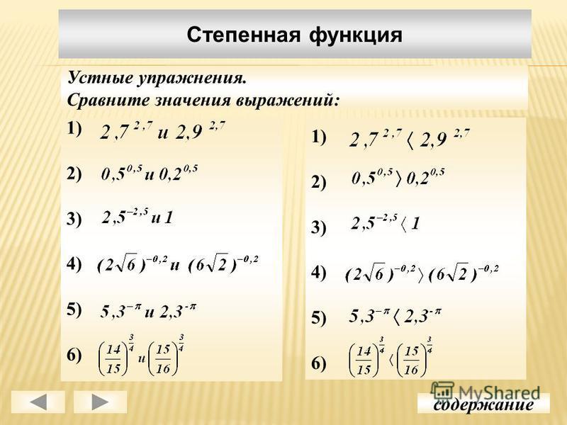 1) 2) 3) 4) 5) 6) Степенная функция содержание Устные упражнения. Сравните значения выражений: 1) 2) 3) 4) 5) 6)
