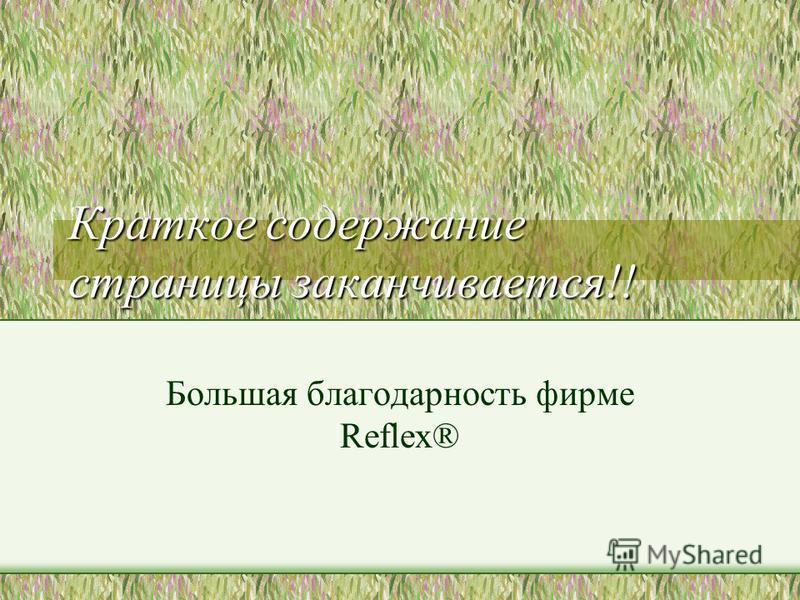 Краткое содержание страницы заканчивается!! Большая благодарность фирме Reflex®
