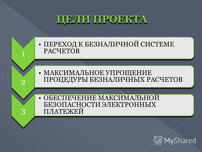 ЦЕЛИ ПРОЕКТА 1 ПЕРЕХОД К БЕЗНАЛИЧНОЙ СИСТЕМЕ РАСЧЕТОВ 2 МАКСИМАЛЬНОЕ УПРОЩЕНИЕ ПРОЦЕДУРЫ БЕЗНАЛИЧНЫХ РАСЧЕТОВ 3 ОБЕСПЕЧЕНИЕ МАКСИМАЛЬНОЙ БЕЗОПАСНОСТИ ЭЛЕКТРОННЫХ ПЛАТЕЖЕЙ