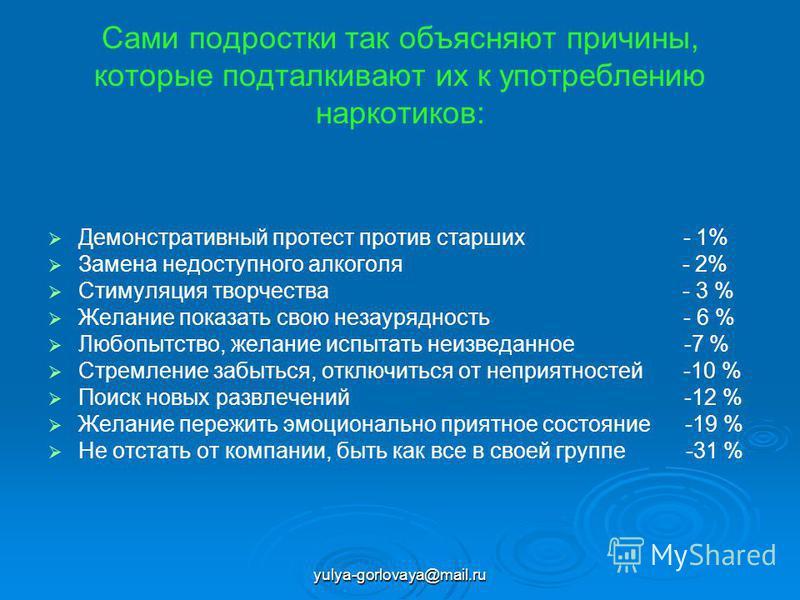 yulya-gorlovaya@mail.ru Сами подростки так объясняют причины, которые подталкивают их к употреблению наркотиков: Демонстративный протест против старших - 1% Замена недоступного алкоголя - 2% Стимуляция творчества - 3 % Желание показать свою незаурядн