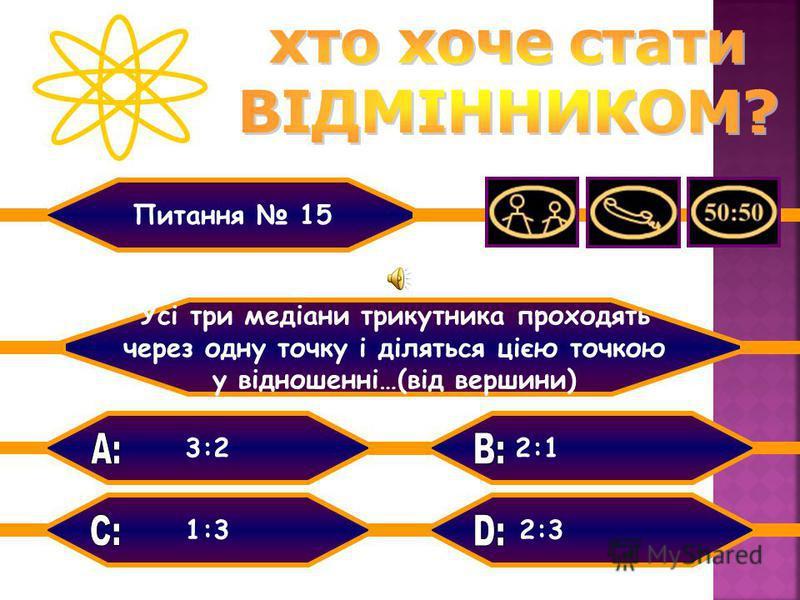 Тупий Прямий Вписаний кут, що спирається на діаметр Питання 14