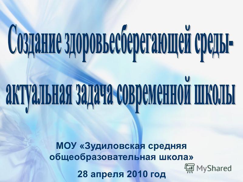 МОУ «Зудиловская средняя общеобразовательная школа» 28 апреля 2010 год