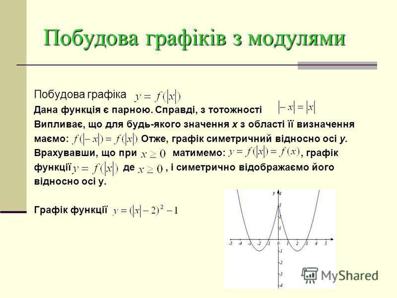 Побудова графіків з модулями Побудова графіка y= За означенням модуля числа маємо: Отже, якщо f (x) < 0, то значення цих функцій є протилежними числами. Тому графік функцій y = |f (x)| можна одержати так: будуємо графік функції y = f (x) і ту його ча