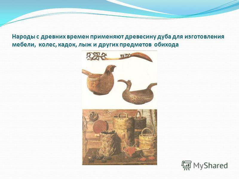 Народы с древних времен применяют древесину дуба для изготовления мебели, колес, кадок, лыж и других предметов обихода
