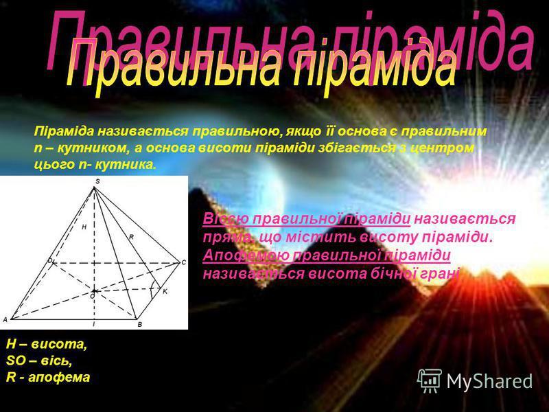Піраміда називається правильною, якщо її основа є правильним n – кутником, а основа висоти піраміди збігається з центром цього n- кутника. H – висота, SO – вісь, R - апофема Віссю правильної піраміди називається пряма, що містить висоту піраміди. Апо