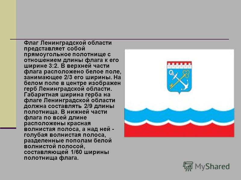 Флаг Ленинградской области представляет собой прямоугольное полотнище с отношением длины флага к его ширине 3:2. В верхней части флага расположено белое поле, занимающее 2/3 его ширины. На белом поле в центре изображен герб Ленинградской области. Габ
