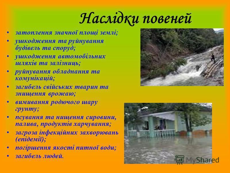 Ми дізналися: Повінь – це значне затоплення місцевості, спричинене зливами, весняним таненням снігу, вітровим нагоном води, руйнуванням дамб, гребель.
