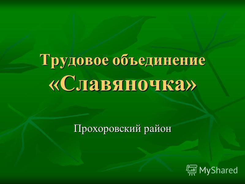 Трудовое объединение «Славяночка» Прохоровский район