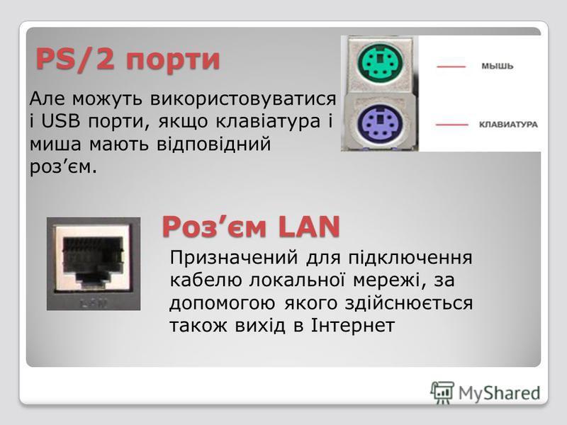 PS/2 порти Розєм LAN Призначений для підключення кабелю локальної мережі, за допомогою якого здійснюється також вихід в Інтернет Але можуть використовуватися і USB порти, якщо клавіатура і миша мають відповідний розєм.