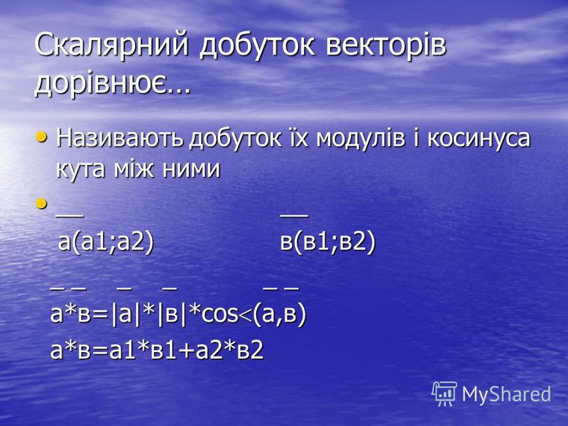 Скалярний добуток векторів дорівнює… Називають добуток їх модулів і косинуса кута між ними Називають добуток їх модулів і косинуса кута між ними __ __ __ __ а(а1;а2) в(в1;в2) а(а1;а2) в(в1;в2) _ _ _ _ _ _ _ _ _ _ _ _ а*в=|а|*|в|*cos (а,в) а*в=|а|*|в|